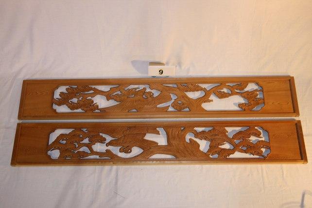 木製彫刻欄間(ランマ)一対 松【木材・古材販売】
