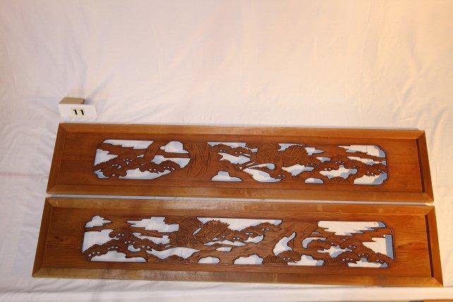 木製彫刻欄間(ランマ)一対 風景「城・松・海」画像