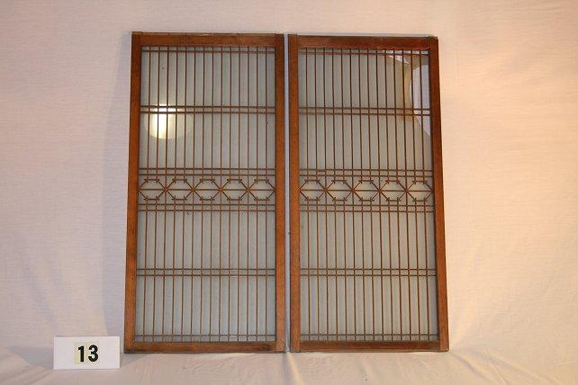 古民具・ガラス戸 建具 2枚セット(引き戸)画像