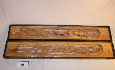 木製彫刻欄間(ランマ)一対 富士山他 画像