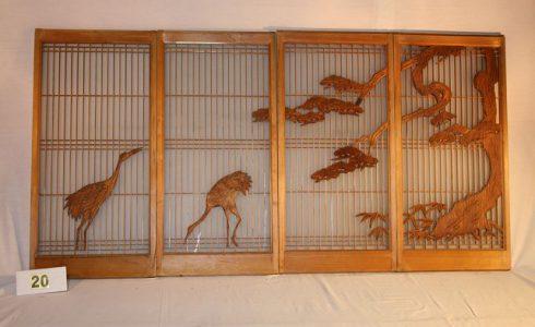 古民具 極上彫刻書院ガラス戸 組格子書院ガラス戸(松に鶴)写真