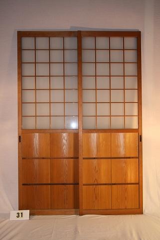 古民具・ガラス戸 建具2枚セット(引き戸)【木材・古材販売商品のご案内】写真