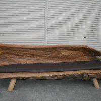 オールドチークソファ長椅子 天然木 銘木総無垢(メイボクソウムク)写真